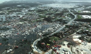 An aerial view shows devastation in the Abaco Islands.