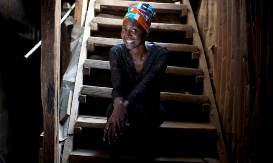 Mammito, a comedian, MC and performer, pictured in the arts centre where she rehearses and hangs out with other artists in Kibera, Nairobi, Kenya.