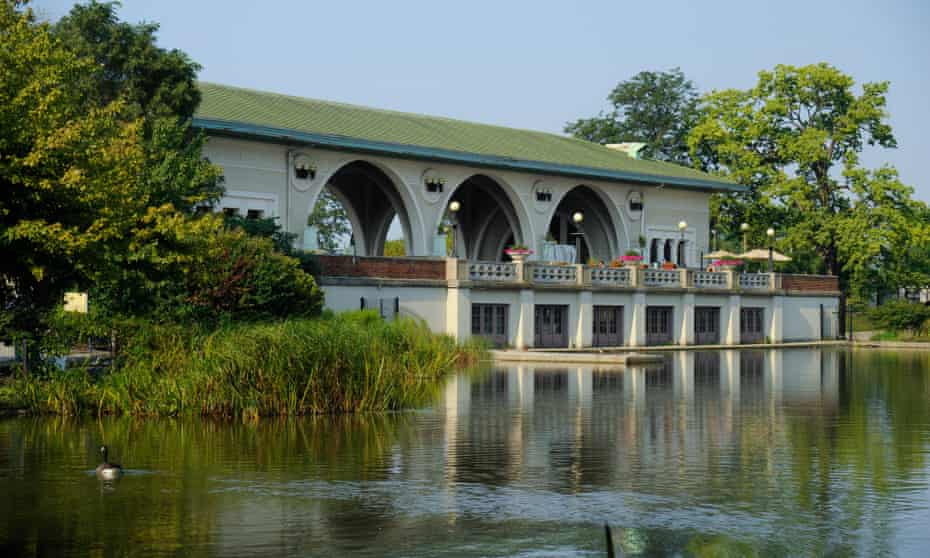 The Boathouse and Music Court in Humboldt Park.