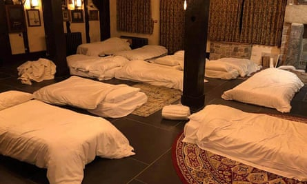 Makeshift beds laid out at Jamaica Inn on Bodmin Moor