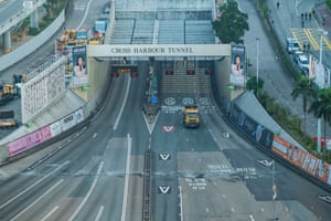 A general view shows the closed Cross Harbour Tunnel next to Hong Kong Polytechnic University
