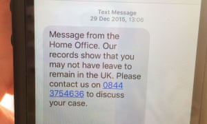 Text from Capita on behalf of Home Office to Haruko Tomioka