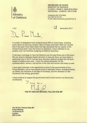 Fallon's resignation letter