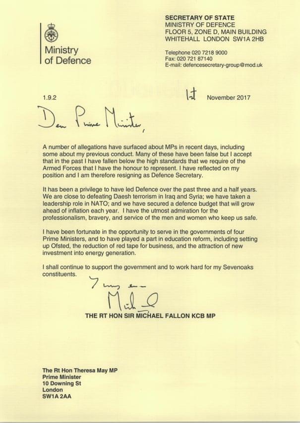Michael Fallon quits as defence secretary, saying his behaviour has