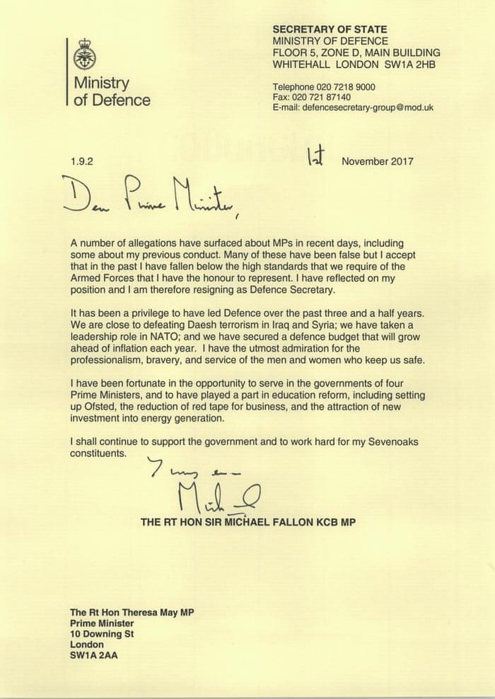 Michael Fallon quits as defence secretary 343257f8701
