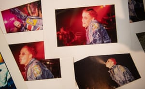 Photographs of Keith Flint on display at Cheffins auctioneers in Cambridge