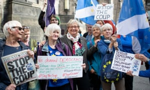 SNP MP Joanna Cherry with supporters outside the Court of Session in Edinburgh