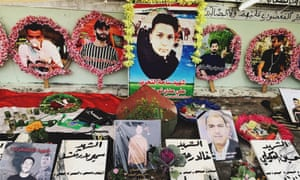 Friends of protesters who were killed by the Iraqi government's security forces.