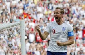 Kane celebrates his third goal of the tournament.