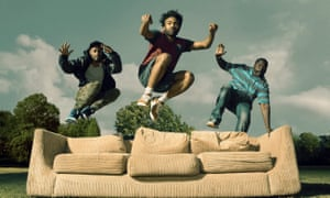 Jumping the couch: Keith Standfield as Darius, Donald Glover as Earnest Marks and Brian Tyree Henry as Alfred Miles.