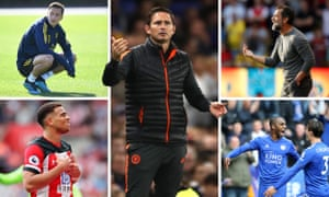 Clockwise from top left: Mesut Özil, Chelsea manager Frank Lampard, Watford's Quique Sánchez Flores, Leicester full-backs Ricardo Pereira and Ben Chilwell, and misfiring Southampton forward Che Adams.