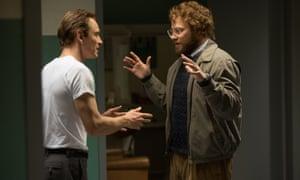 Michael Fassbender as Steve Jobs and Seth Rogen as Steve Wozniak in a scene from Danny Boyle's film about the Apple boss.