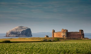 Tantallon Castle, near North Berwick and Bass Rock in the background, Scotland