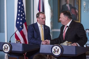 Secretary of State Mike Pompeo meets with UK Foreign Secretary Dominic Raab.