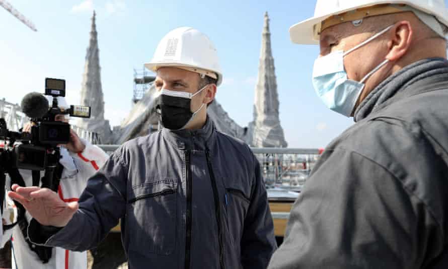 Emmanuel Macron visits Notre Dame Cathedral in Paris, France.