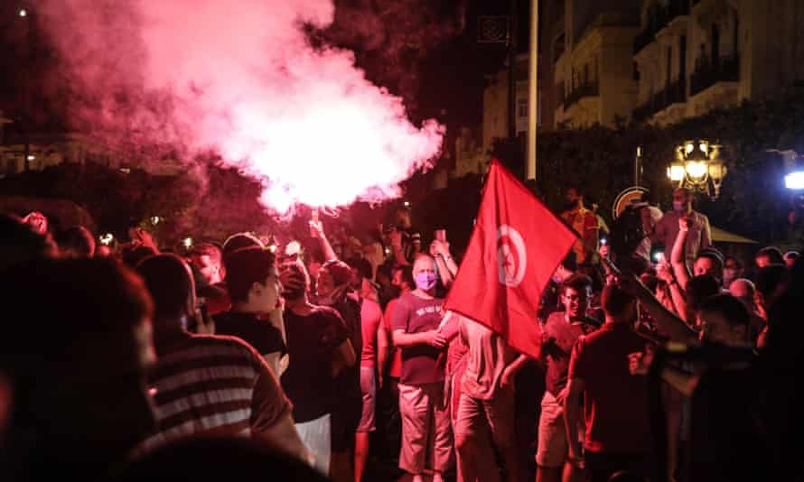 Tunisians take to the streets after President Kais Saied suspended parliament for 30 days.