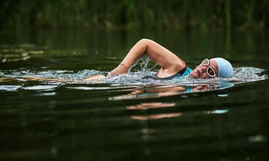 Alexandra Heminsley swimming  in the Arun.