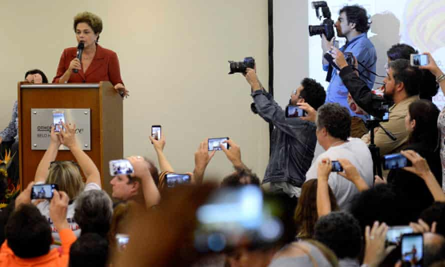 Suspended Brazilian President Dilma Rousseff faces the media.