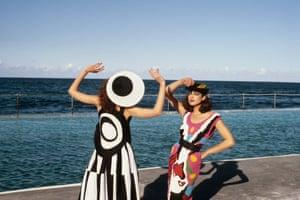 Robina and Gael McKay wearing Linda's Black and White Patchwork series on Bondi Beach in 1979.