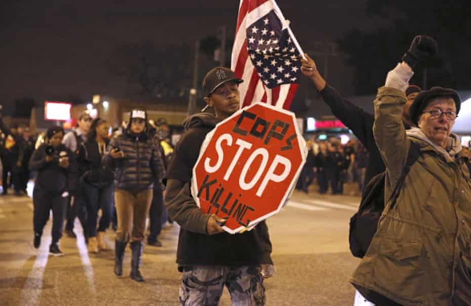 Black Lives Matter demonstrators and supporters of Joshua Beal, who was shot to death by an off duty Chicago police officer in the predominantly white neighborhood of Mount Greenwood, Chicago.