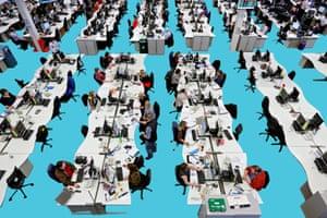 Composite: Customer service representatives work at their desks inside the customer service call center