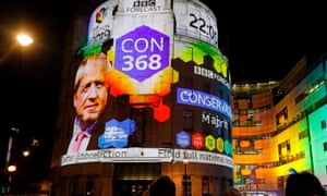 The BBC building in London showing the general election exit poll.