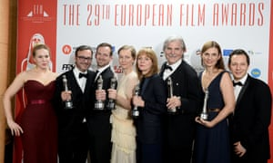 Actors, directors and producers of Toni Erdmann with their prizes at the 2016 European film awards