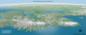 Katmai National Park and Preserve Panorama, by Joe Milbrath and Jim Eynard of the National Park Service, was created to highlight areas of the park far away from the popular Brooks Camp, where visitors go to watch bears