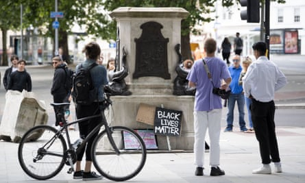 The plinth that held the statue of Edward Colston in Bristol, England, until 7 June when it was brought down by protesters.