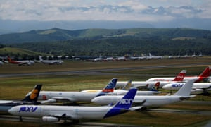 Grounded aircraft at Tarmac Aerosave in Tarbes, France.