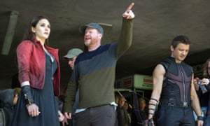 Elizabeth Olsen, Joss Whedon and Jeremy Renner filming Avengers: Age of Ultron at Pinewood Studios.