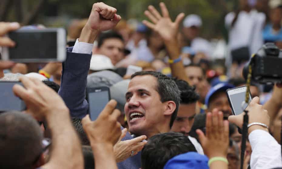 Juan Guaidó at a rally in Caracas, Venezuela Saturday.