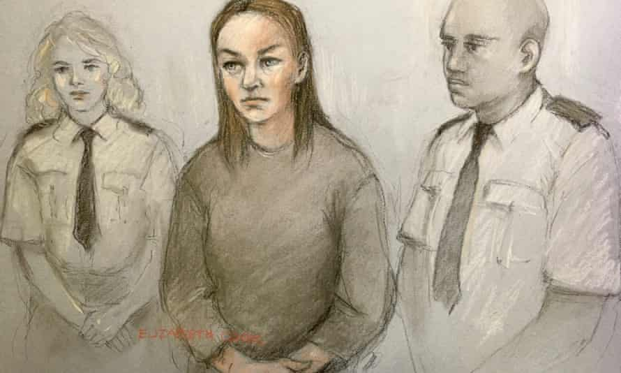 Court artist sketch by Elizabeth Cook of Olga Freeman, 40, appearing at the Old Bailey.