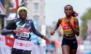 Ethiopia's Shura Kitata crosses the line to win the men's race, after Kenya's Brigid Kosgei had defended her title in the women's race.