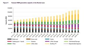 Forecast NEM generation capacity in the Neutral case.