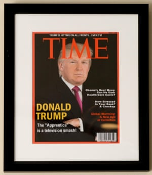 Donald Trump on the fake cover of Time at the Trump National Doral Miami Golf Shop.
