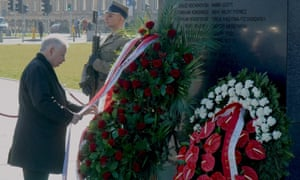 Leader of the ruling party Jaroslaw Kaczynski lays a wreath at the monument to the crash victims