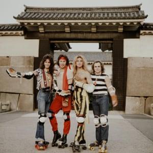Van Halen Striking Poses Wearing Roller Skates(MANDATORY CREDIT Koh Hasebe/Shinko Music/Getty Images) Van Halen posing with roller skates in the Osaka Castle Park, Osaka, September 1979. (Photo by Koh Hasebe/Shinko Music/Getty Images)