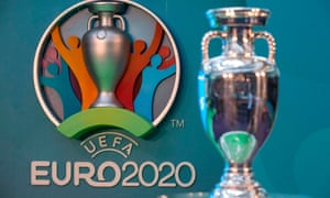 A view of the Euro 2020 trophy.