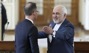 Javad Zarif (right) and the German foreign minister, Heiko Maas