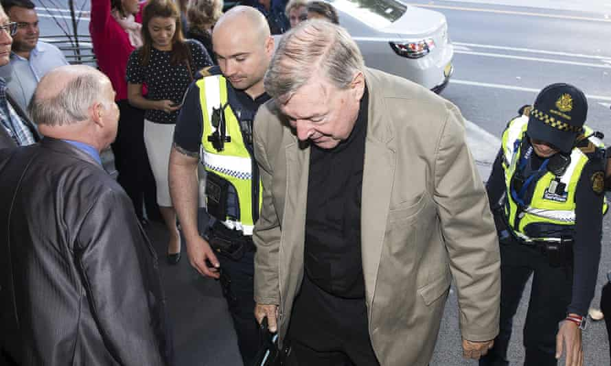 Australia's most senior Catholic, Cardinal George Pell, arrives at the Melbourne Magistrates Court on 28 March 2018.