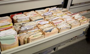 Patient records at a GP surgery.