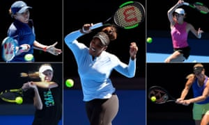 Clockwise from top left: Naomi Osaka, Serena Williams, Simona Halep, Angelique Kerber and Caroline Wozniacki
