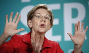 FILE - In this Aug. 3, 2019, file photo, Democratic presidential candidate Sen. Elizabeth Warren, D-Mass., speaks during a candidate forum on labor issues in Las Vegas. Warren is finding that her ascent in presidential primary polls means heightened scrutiny and criticism from party rivals and President Donald Trump. Her political allies and foes alike say Warren has appropriately sharp elbows and isn't afraid to throw them _ something she'll likely increasingly have to do. (AP Photo/John Locher, File)