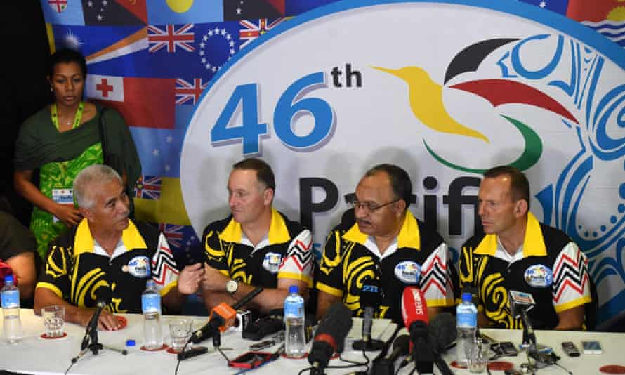 Kiribati's president Anote Tong, who had pushed for stronger action on climate change, at a press conference with New Zealand' PM John Key, Papua New Guinea's prime minister Peter O'Neill and Australia's Tony Abbott after the main meeting of the Pacific Islands Forum.