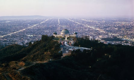 Los Angeles' Griffith observatory and the city in 1964.