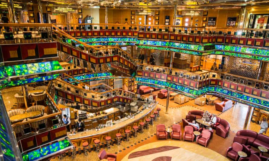 The bar and dancefloor of the Costa Fortuna, owned by the Carnival corporation.