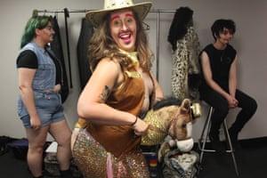 Sydney, Australia. Non-binary drag performer Gabriel Angel prepares ahead of Sydney's 2021 Mardi Gras Parade