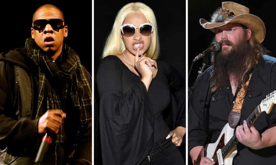 Contenders … from left, Jay-Z, Cardi B and Chris Stapleton.