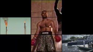The boxer Prince Naseem Hamed centre stage in Kazim Rashid's artwork.